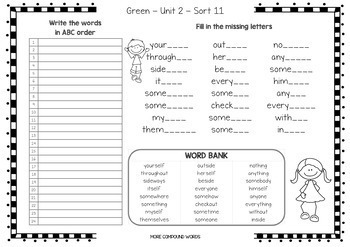 Words Their Way - Syllables & Affix - ABC & Missing Letters - Sorts 1-56