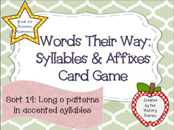 Words Their Way:Syllables&Affixes:Sort 19:Long –o patterns in accented syllables