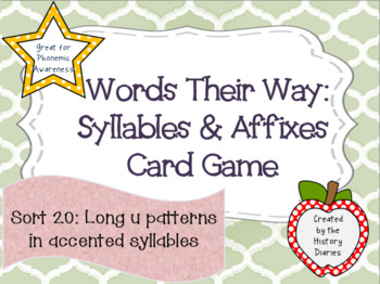 Words Their Way:Syllables&Affixes:Sort 20:Long –u patterns in accented syllables