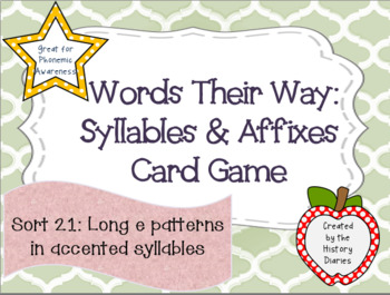 Words Their Way:Syllables&Affixes:Sort 21:Long –E patterns in accented syllables