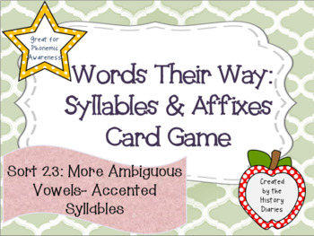 Words Their Way:Syllables&Affixes:Sort 23:More Ambiguous V