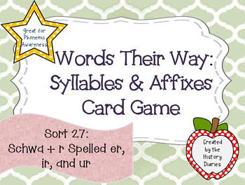 Words Their Way:Syllables&Affixes:Sort 27:Schwa + r Spelle