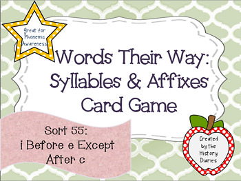Words Their Way: Syllables & Affixes: Sort 55: i Before e Except After c