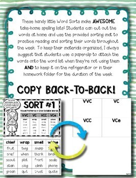 Words Their Way -- Syllables & Affixes Sorts (1-56) -- Homework Sorts & Lists
