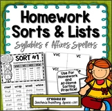 Words Their Way --- Syllables & Affixes Homework Sorts & Lists