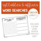 Words Their Way Syllables & Affixes Word Searches