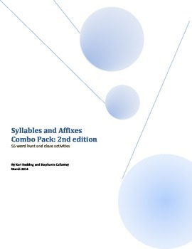 Words Their Way: Syllables and Affixes 2nd EDITION: Word Hunt/Cloze: Sorts 1-56
