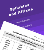 Words Their Way Syllables and Affixes (All 55)