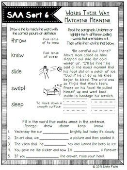 Words Their Way - Syllables and Affixes Matching Meaning