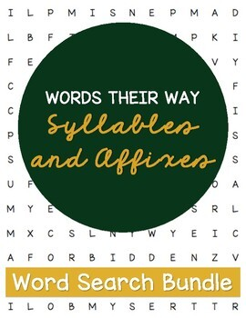 Words Their Way Syllables and Affixes (Sort 1-30) Word Searches *GROWING*