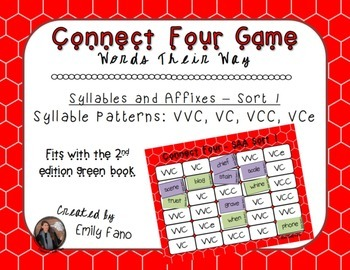 Words Their Way - Syllables and Affixes - Sort 1 Connect Four