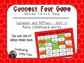 Words Their Way - Syllables and Affixes - Sort 11 Connect Four