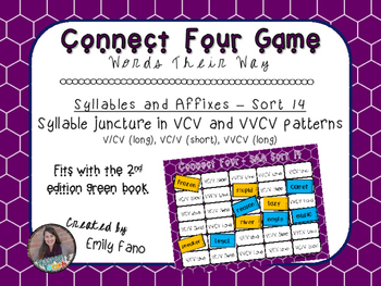 Words Their Way - Syllables and Affixes - Sort 14 Connect Four