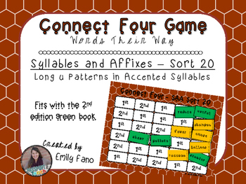 Words Their Way - Syllables and Affixes - Sort 20 Connect Four