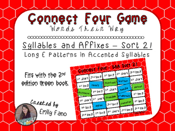 Words Their Way - Syllables and Affixes - Sort 21 Connect Four