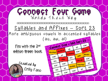 Words Their Way - Syllables and Affixes - Sort 23 Connect Four