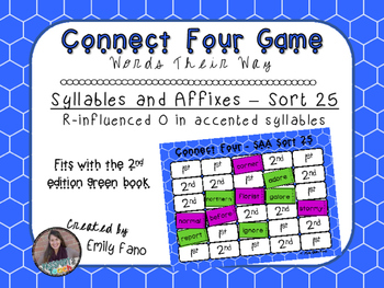 Words Their Way - Syllables and Affixes - Sort 25 Connect Four
