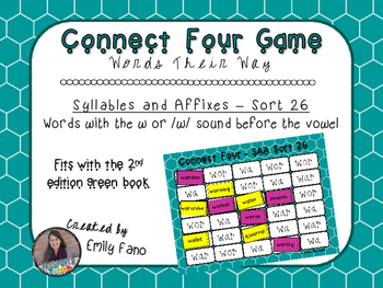 Words Their Way - Syllables and Affixes - Sort 26 Connect Four