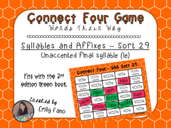 Words Their Way - Syllables and Affixes - Sort 29 Connect Four