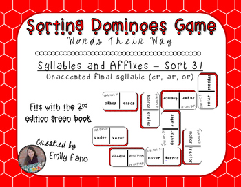 Words Their Way - Syllables and Affixes - Sort 31 Dominoes