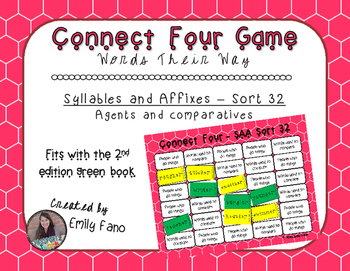 Words Their Way - Syllables and Affixes - Sort 32 Connect Four