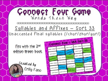 Words Their Way - Syllables and Affixes - Sort 33 Connect Four