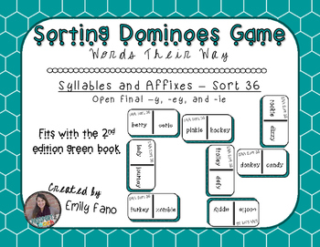 Words Their Way - Syllables and Affixes - Sort 36 Dominoes