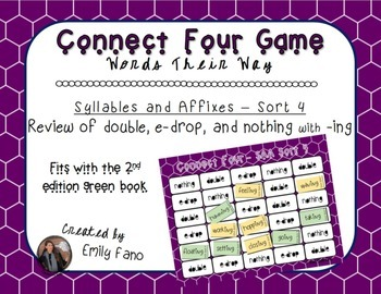 Words Their Way - Syllables and Affixes - Sort 4 Connect Four