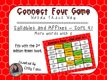 Words Their Way - Syllables and Affixes - Sort 41 Connect Four