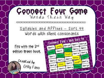 Words Their Way - Syllables and Affixes - Sort 44 Connect Four