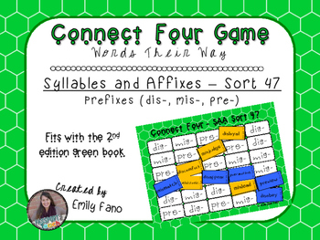 Words Their Way - Syllables and Affixes - Sort 47 Connect Four
