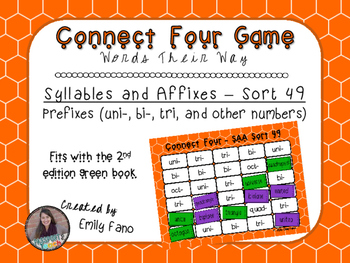 Words Their Way - Syllables and Affixes - Sort 49 Connect Four