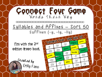 Words Their Way - Syllables and Affixes - Sort 50 Connect Four