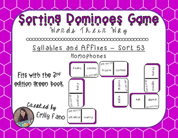 Words Their Way - Syllables and Affixes - Sort 53 Dominoes
