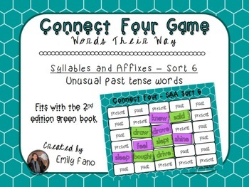 Words Their Way - Syllables and Affixes - Sort 6 Connect Four