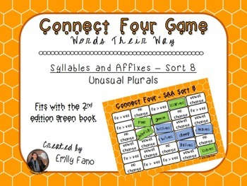 Words Their Way - Syllables and Affixes - Sort 8 Connect Four