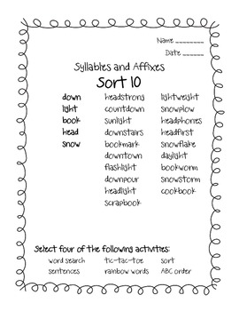 Words Their Way Syllables and Affixes Sorts 10 - 16
