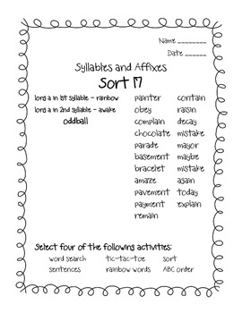 Words Their Way Syllables and Affixes Sorts 17 - 21