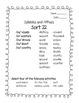 Words Their Way Syllables and Affixes Sorts 22 - 28