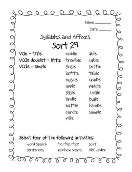 Words Their Way Syllables and Affixes Sorts 29 - 38