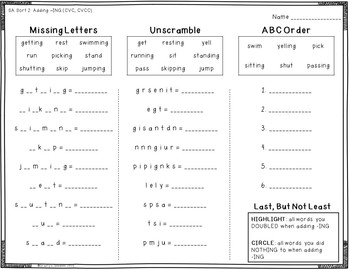 Words Their Way - Syllables and Affixes Spellers - A Worksheet for Each Sort