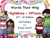Words Their Way: Syllables and Affixes - NO PREP ACTIVITIE