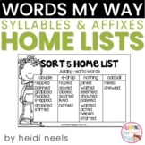 Words My Way Syllables and Affixes Spellers Home Lists