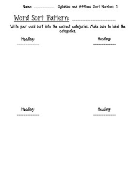 Words Their Way Syllables and Affixes Word Sort Packets