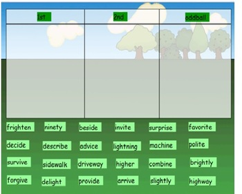 Words Their Way Syllables and Affixes sort 18