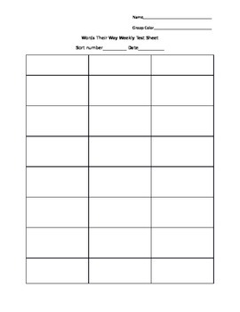 Words Their Way Testing Sheet-Picture Sort