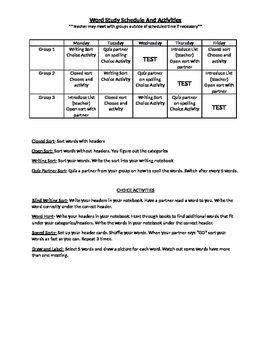 Words Their Way Testing/Student Schedule