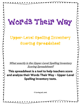 Words Their Way - Upper-Level Spelling Inventory Scoring Spreadsheet