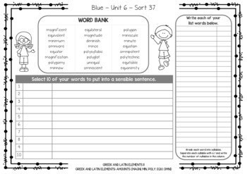 Words Their Way - Vowels - Syllables & Sentences - Red, Yellow, Green, Blue