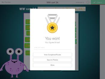 Words Their Way- WITHIN WORDS sorts 23-44 iPad STICK AROUND app